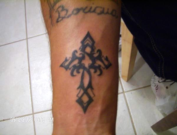 Left Forehand Cross Tattoo