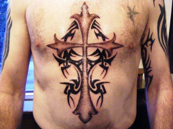 Shaded Cross With Tribal
