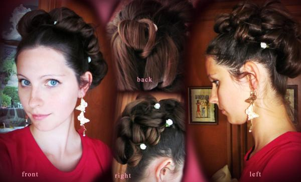 A cool wedding hairstyle where hair is pinned neatly to the top Strange