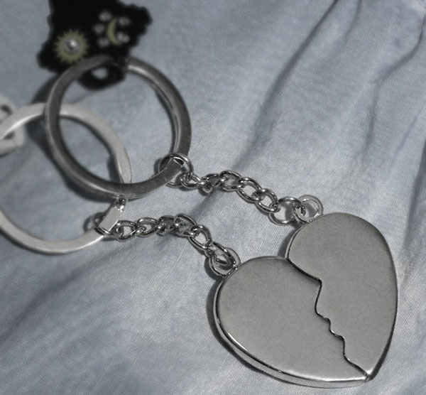 Personalized His/Hers Split Heart Keychain