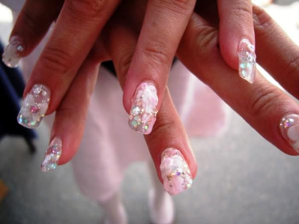 pink roses sparkling crystals and glittery pink nail color