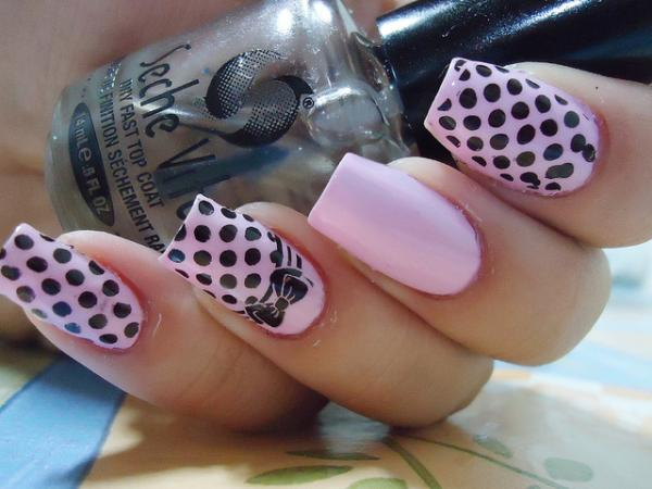 Pale Pink Colored Black Spotted Nails
