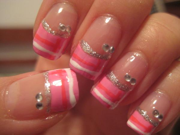Pink Painted Glittering Blunt Nails
