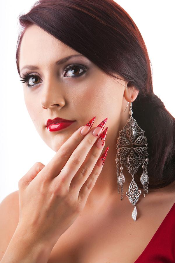 Sharp Pointed Red Ruby Nails