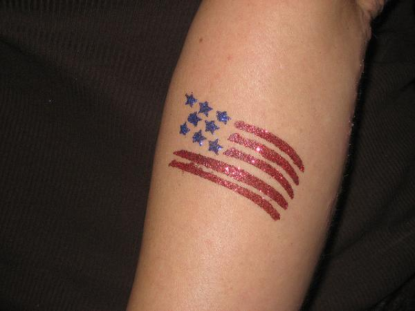 American Flag Glitter Tattoo