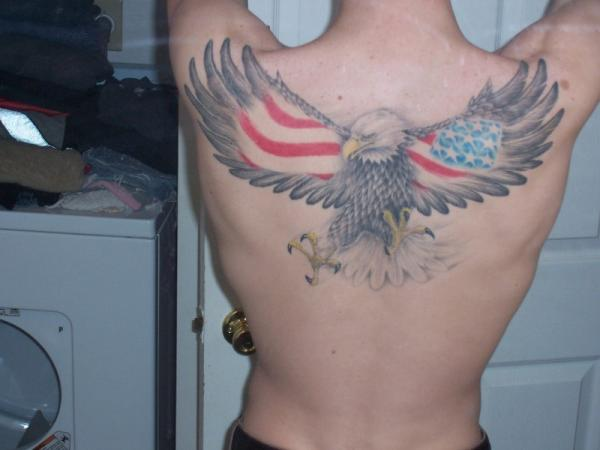 American Flag Hawk Tattoo