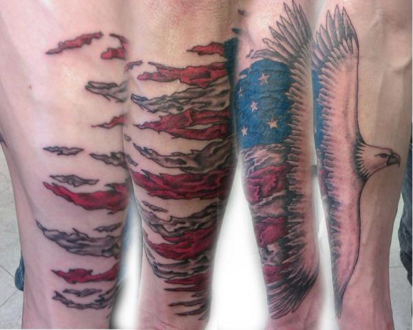Eagle Flying With American Flag Tattoo