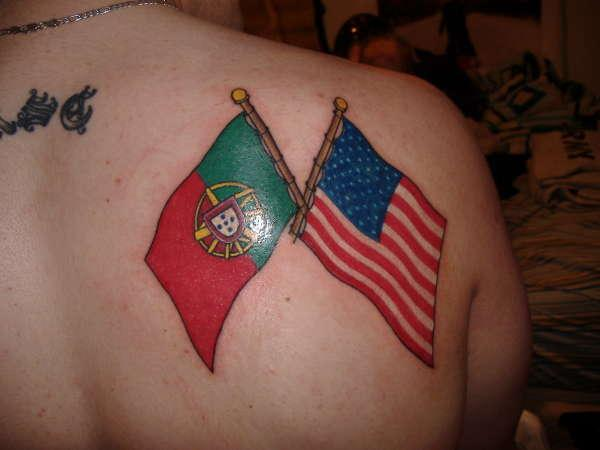 Portuguese And American Flag