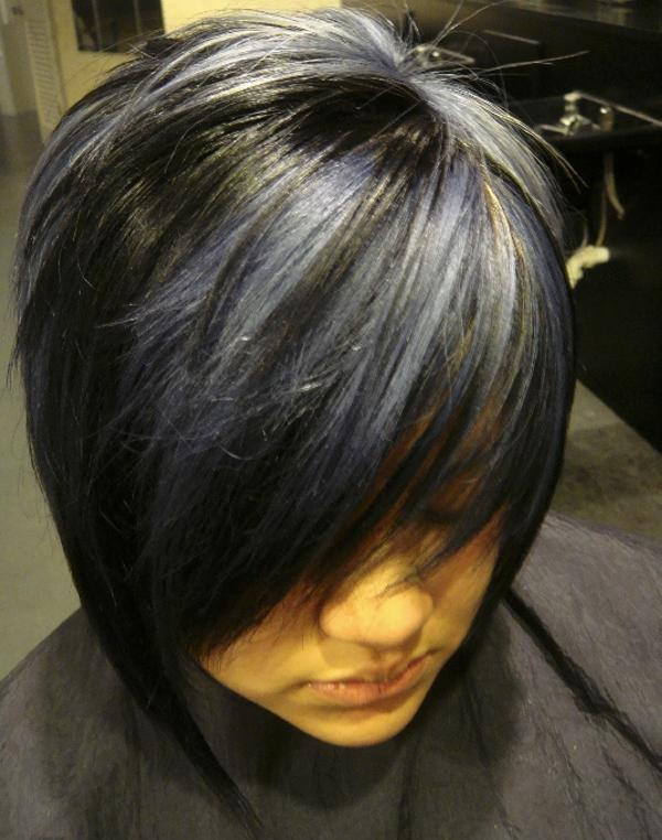 short black hair with highlight 35 Glorious Black Hair With Blonde Highlights