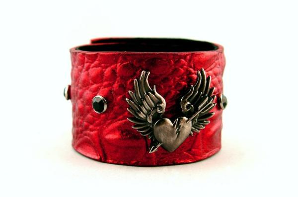 Metallic Red Broken Heart Cuff