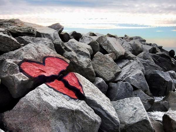 Broken Heart On Rocks