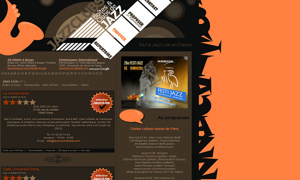 jazzclubs 40 Creative Placement of Contact Us Tab – A Showcase