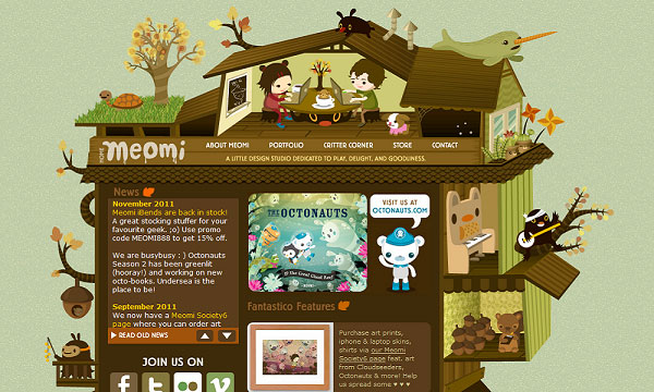 meomi 40 Creative Placement of Contact Us Tab – A Showcase