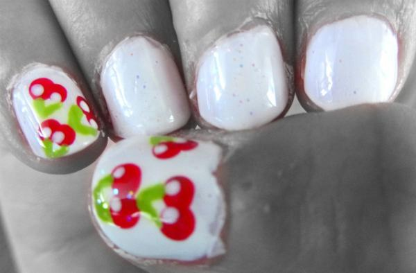 Cherry And Milk Nails