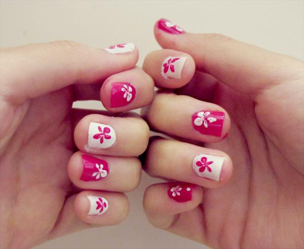 40 cool nail designs you will love slodive pink and white flowers nails prinsesfo Choice Image