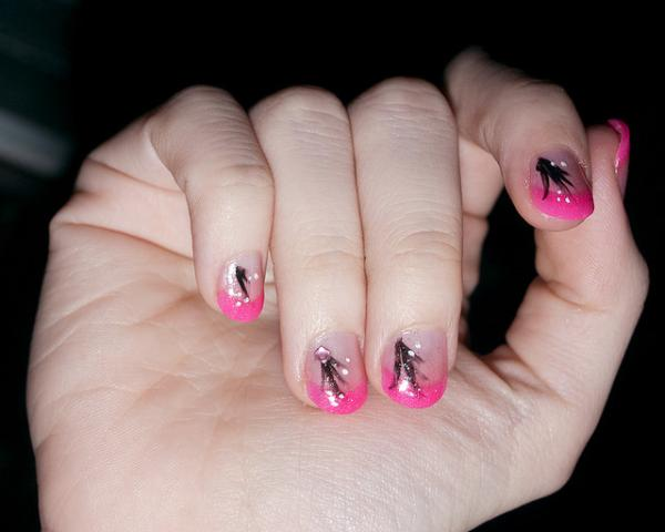 Pink Tipped Black Strokes Nails