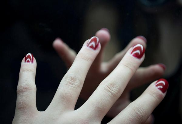 Deep Shining Red Nails