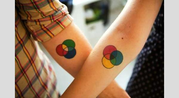 colorful couple tattoo 40 Couple Tattoos You Can Have To Show Your Love