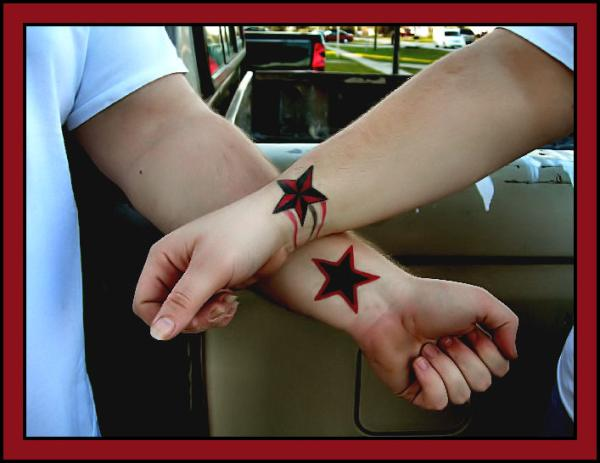 tattoo falling star 40 Couple Tattoos You Can Have To Show Your Love
