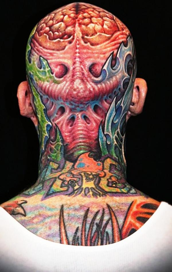 work on head 35 Awesomely Crazy Tattoos