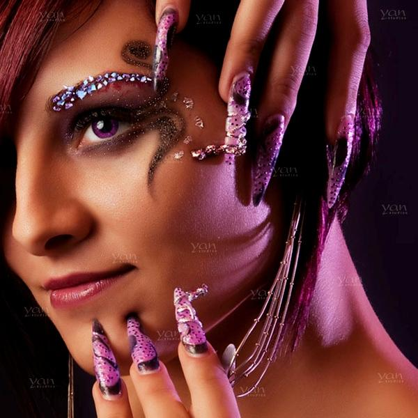 Long Purple Sharp Pointed Nails