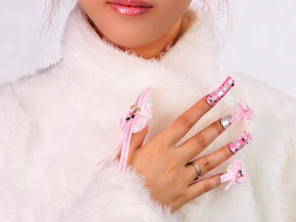 Pink Nails With Ribbons