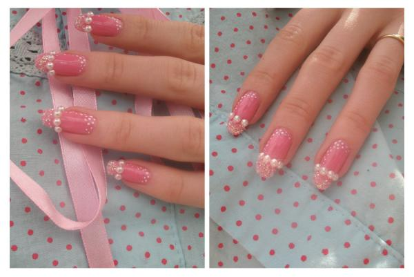 Pink Pearled Nails