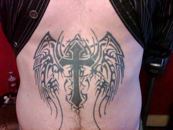 abdoment tattoo 25 Glorious Cross With Wings Tattoo Designs