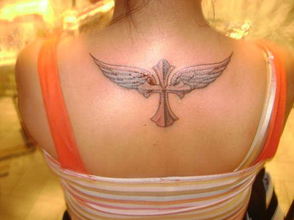 angel wings w cross tattoo 25 Glorious Cross With Wings Tattoo Designs