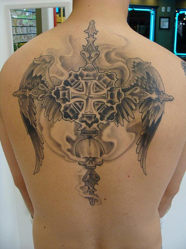back cross with wings tattoo 25 Glorious Cross With Wings Tattoo Designs