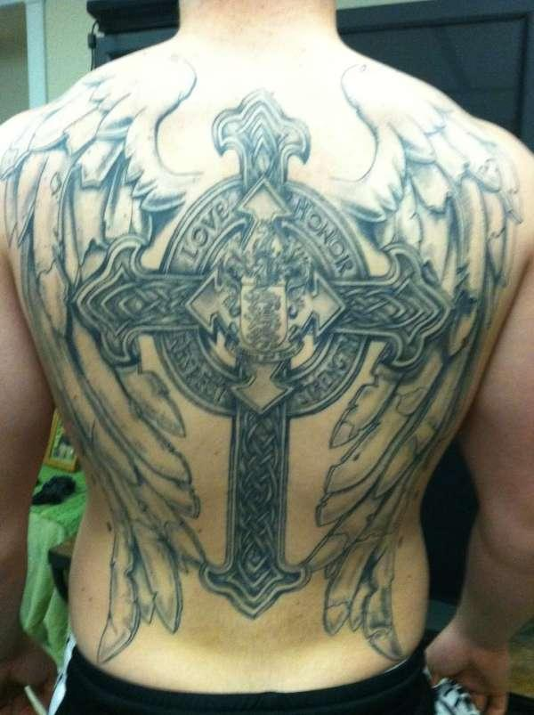 cool cross wings tattoo 25 Glorious Cross With Wings Tattoo Designs