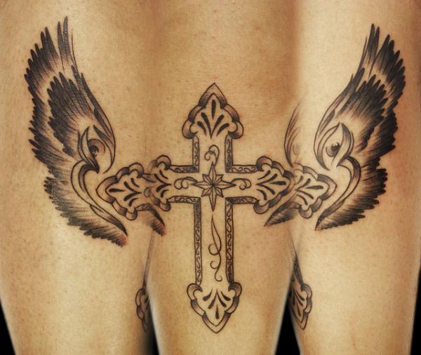 cross with wings tattoo 25 Glorious Cross With Wings Tattoo Designs