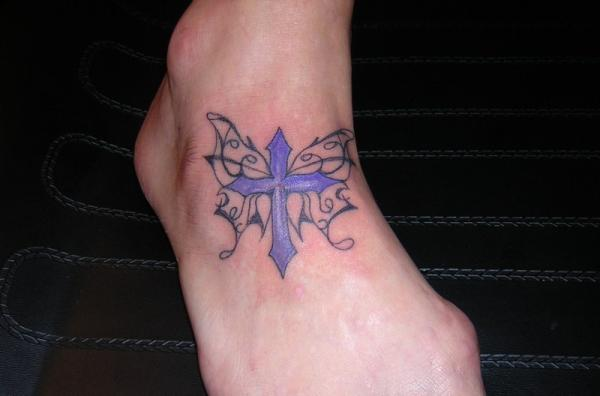 fancy footfly 25 Glorious Cross With Wings Tattoo Designs