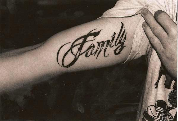 Family First Tattoo On Biceps Ambigram tattoos and designs ...