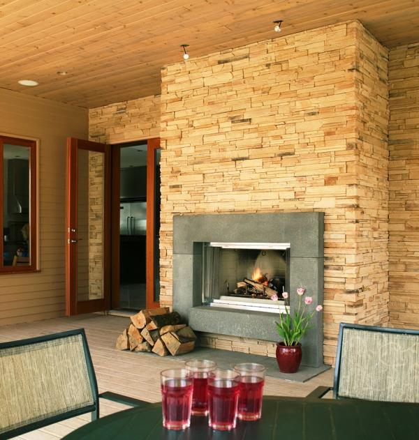 Portland Sandblasted Cast Concrete Block Fireplace