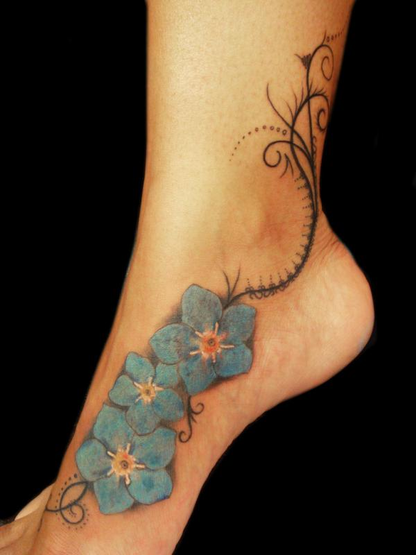 25 flower tattoos on foot you should look at slodive forget me not flower tattoo mightylinksfo