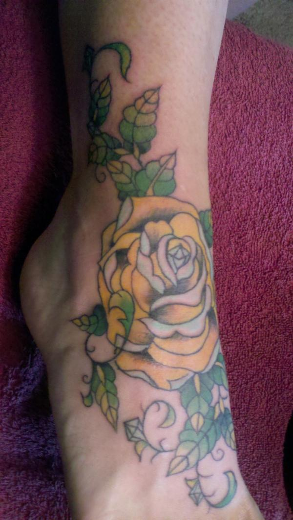 25 flower tattoos on foot you should look at slodive yellow rose mightylinksfo