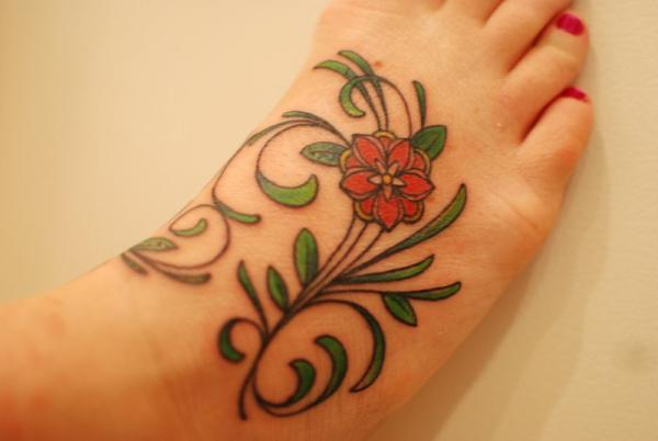 flower on top foot 35 Sexy Foot Tattoos For Girls