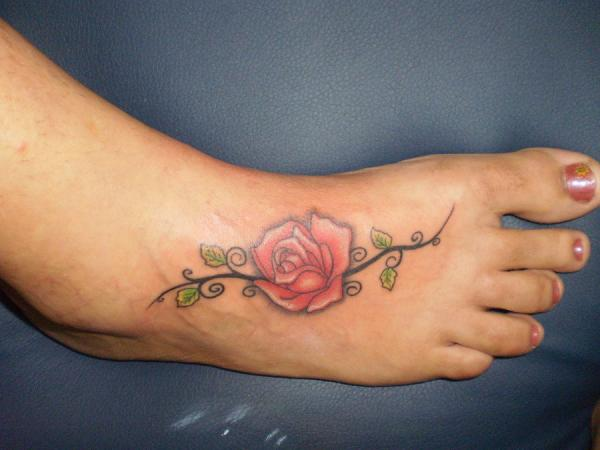 red rose on foot 35 Sexy Foot Tattoos For Girls