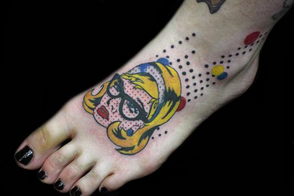 roy lichtenstein inspired 35 Sexy Foot Tattoos For Girls