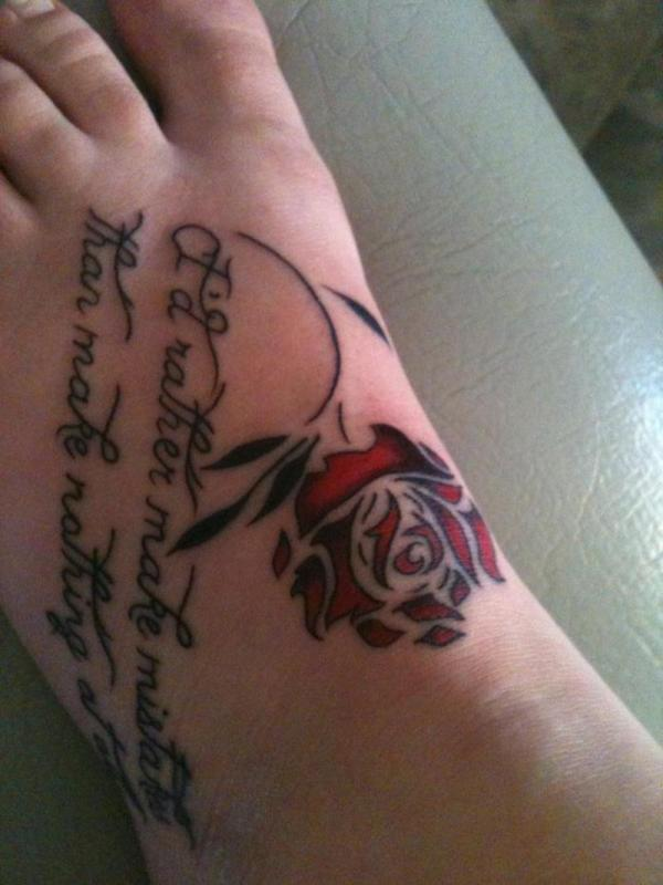 special red rose on top foot 35 Sexy Foot Tattoos For Girls