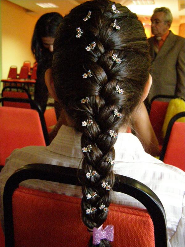 Decorated French Black Braided Hair