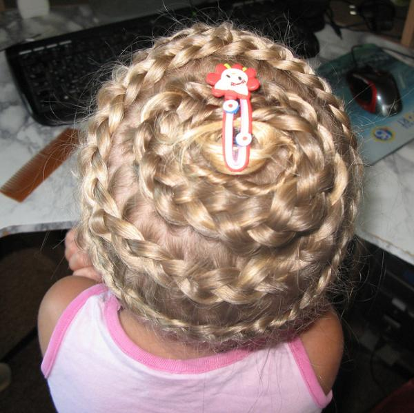 French Braided Long Hair Arranged On Head