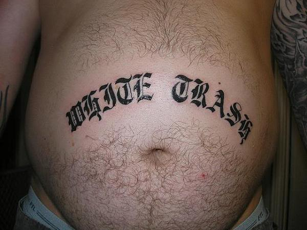 Large Belly With Tattoo