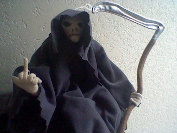 Grim Reaper Gives the Finger