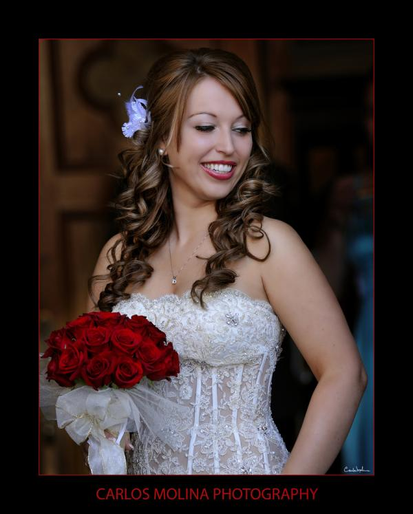bride with red rose 30 Beautiful Half Up Half Down Wedding Hairstyles
