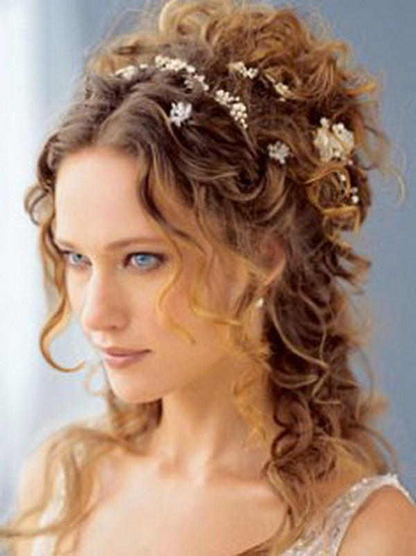 brown decorated hair 30 Beautiful Half Up Half Down Wedding Hairstyles