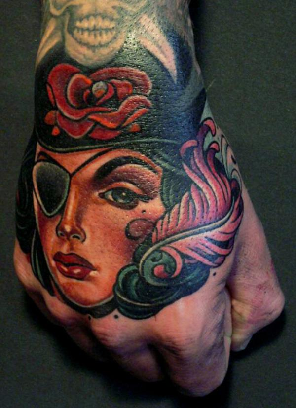 beautiful pirate 40 Awesome Hand Tattoos