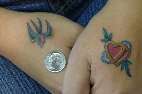 Sparrow With Hearts Hand Tattoo