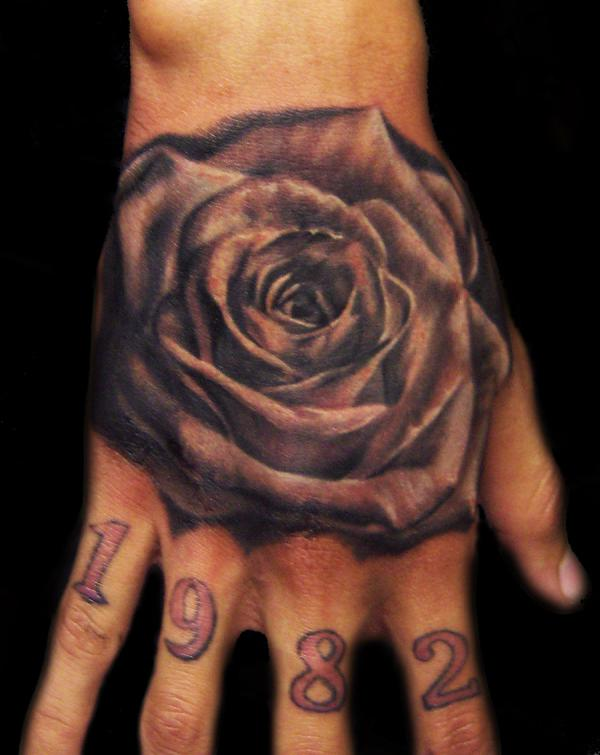 black n grey rose 40 Awesome Hand Tattoos